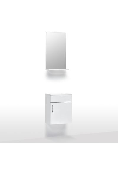 Hepsi Home Saydam Klasik 40 cm Mdf Banyo Dolabı Beyaz