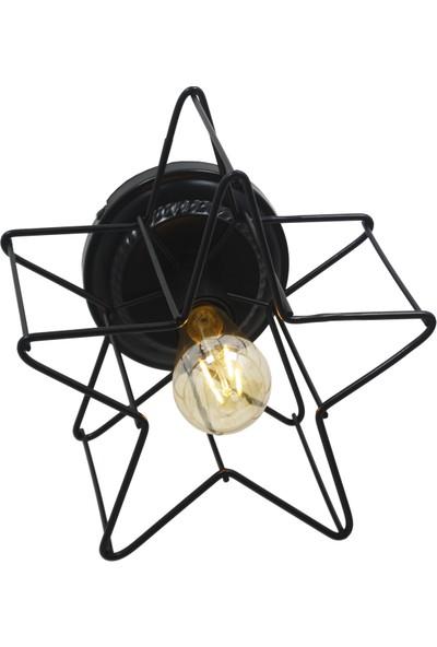 Taşcan Aydınlatma Valensiya Yıldız Beliz Çarpık Tekli Siyah Plafonyer/Tavana Monte Avize