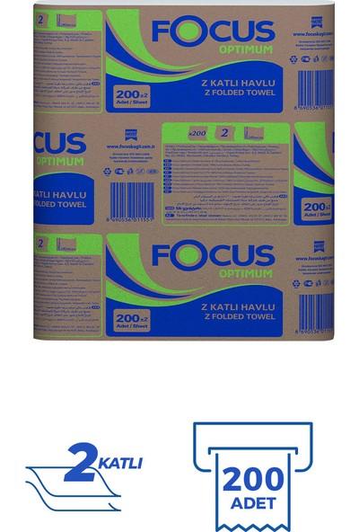 Focus Optimum Z Katlama Dispenser Kağıt Havlu 200 Yaprak 12'li Paket (200x12 Adet 2400 Yaprak)