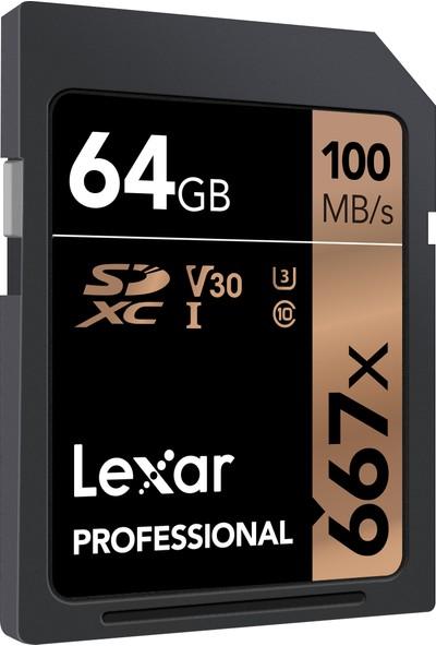 Lexar 64GB 667X SDXC 100Mb/SN Uhs-I U3 Class 10 V30 Professional ( LSD64GB667 ) Hafıza Kartı