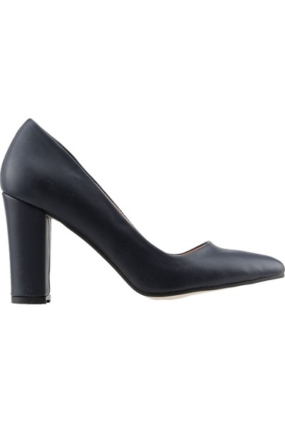 Ayakland 137029-311 Günlük 8 cm Topuk Bayan Cilt Klasik Ayakkabı Laci̇vert