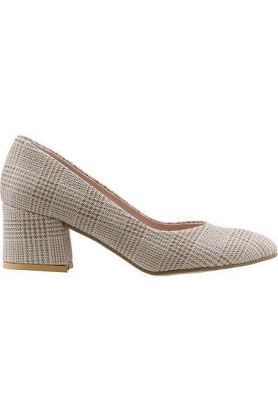Ayakland 544-312 Günlük 5 cm Topuk Bayan Ekose Topuklu Ayakkabı Krem