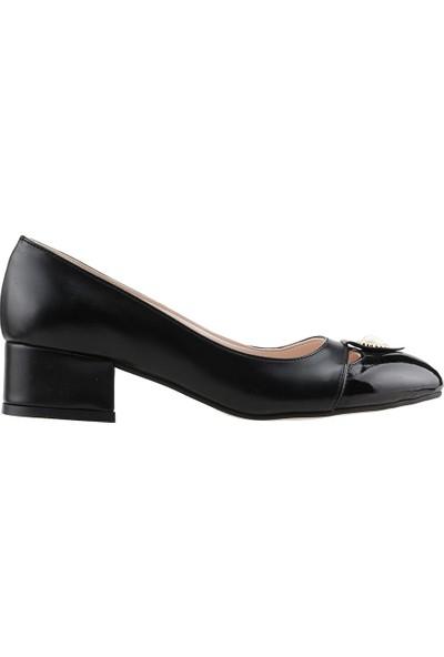 Ayakland 575-1136 Babet 5 cm Topuk Bayan Cilt Ayakkabı Si̇yah