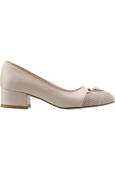 Ayakland 575-1136 Babet 5 cm Topuk Bayan Ekose Cilt Ayakkabı Krem