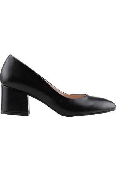 Ayakland 97544-312 Günlük 5 cm Topuk Cilt Bayan Topuklu Ayakkabı Si̇yah