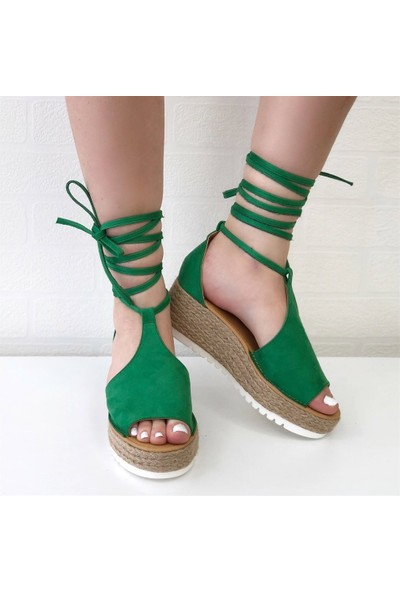 Mio Gusto Lotty Yeşil Dolgu Taban Sandalet