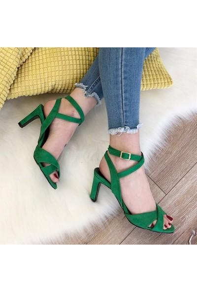 Mio Gusto Trixie Yeşil Topuklu Ayakkabı