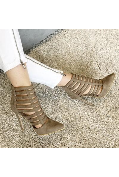 Mio Gusto Cage 10 cm Vizon Topuklu Ayakkabı