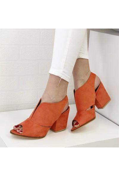 Mio Gusto Queen Turuncu Topuklu Ayakkabı