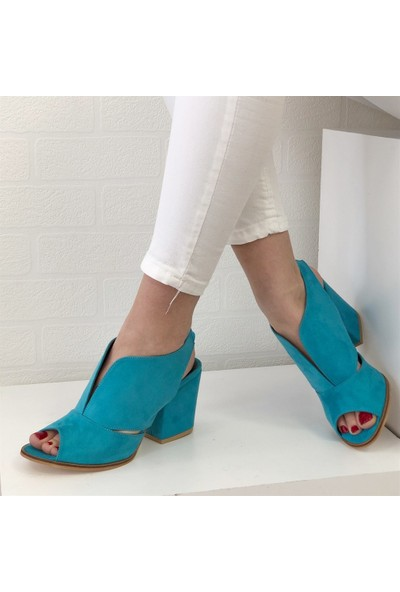 Mio Gusto Queen Turkuaz Topuklu Ayakkabı