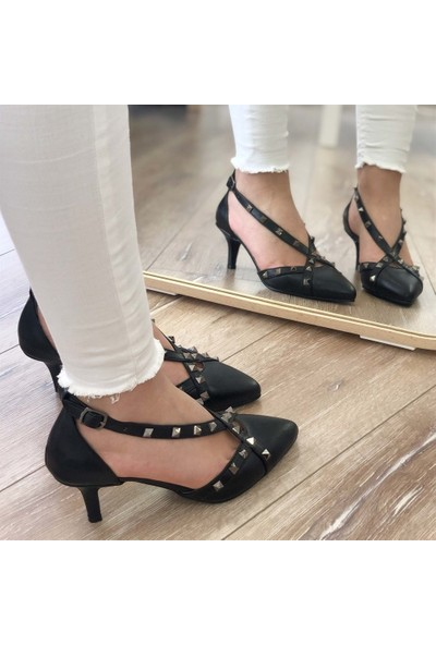 Mio Gusto Adriana Siyah Zımbalı Topuklu Ayakkabı