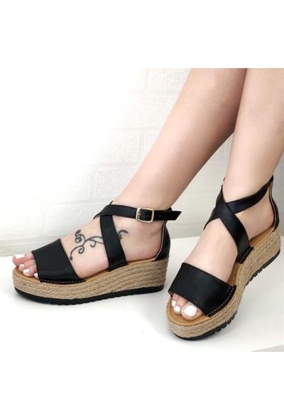 Mio Gusto Bonita Siyah Dolgu Taban Sandalet