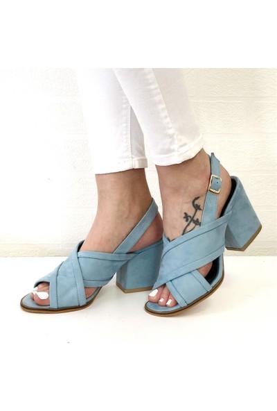 Mio Gusto Elita Mavi Topuklu Ayakkabı