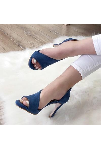 Mio Gusto Alberta Kot Mavi Topuklu Ayakkabı