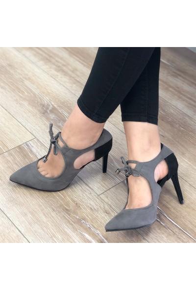 Mio Gusto Wild Gri Topuklu Ayakkabı