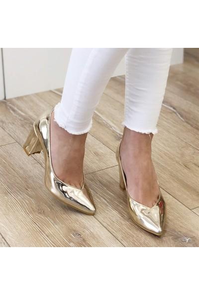 Mio Gusto Keira Altın Topuklu Ayakkabı