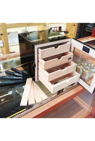 Angelo 4 Raflı Dijital Puro Kutusu Humidor Siyah/Inox 60'S
