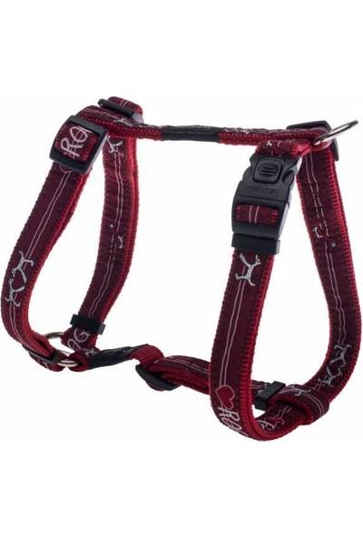Rogz Köpek Göğüs Tasması Rozg Desenli Kırmızı Large 20 Mm 45-75 Cm