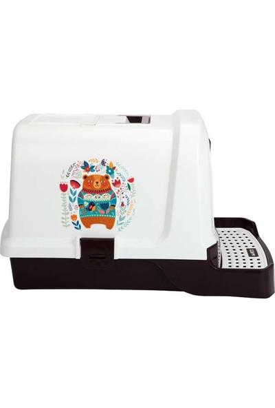 M-Pets Kedi Tuvalet Ayı Ve Çiçek Desenli 69*42*41