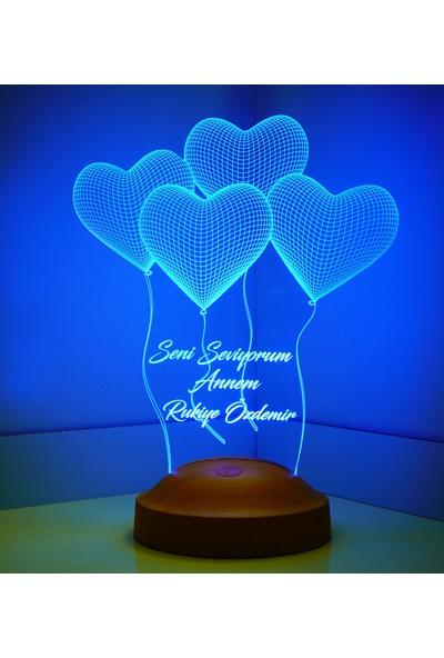Sevgi Lambası Anneler Günü Hediyesi Klasik Kalpler 3D LED Lamba