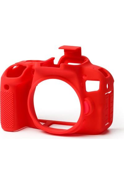 Easycover Canon 200D Silikon Kılıf + Ekran Koruyucu (Kırmızı)