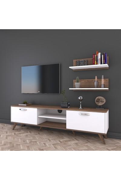 Rani A9 Duvar Raflı Kitaplıklı Tv Ünitesi Modern Ayaklı Tv Sehpası Beyaz Ceviz M48