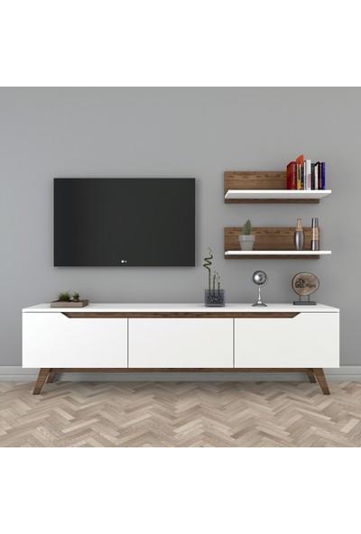 Rani D1 Duvar Raflı Kitaplıklı Tv Ünitesi Ahşap Ayaklı Tv Sehpası Beyaz Ceviz M48