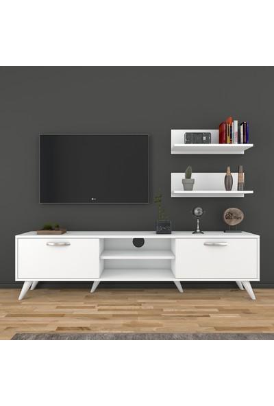 Rani A9 Duvar Raflı Kitaplıklı Tv Ünitesi Modern Ayaklı Tv Sehpası Beyaz M48