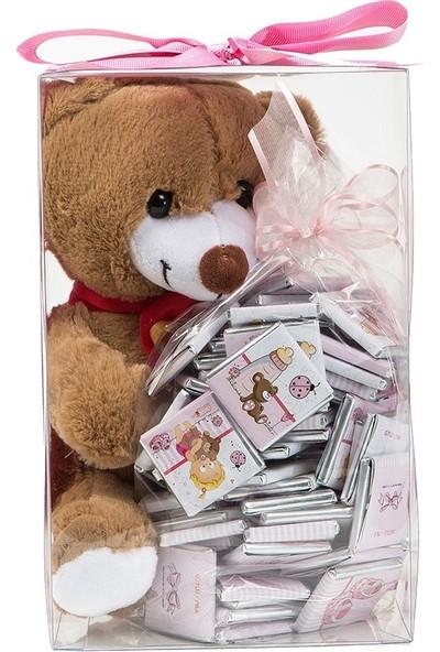 Melodi Çikolata Sevimli Ayıcık Hoşgeldin Pembe Kız Bebek Çikolatası 500gr