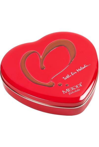 Melodi Çikolata Kalp Çikolata Kırmızı Metal Kutu