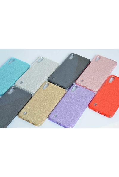 Case 4U Samsung Galaxy M10 Kılıf Simli Parlak Silikon Shining Gümüş