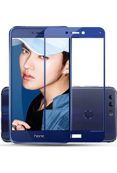 Case 4U Honor 8 Lite 5D Kavisli Temperli Cam Ekran Koruyucu Film Mavi