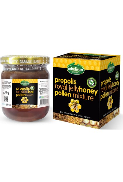 Mindivan Propolis Arı Sütü Bal Polen Karışımı 230 gr