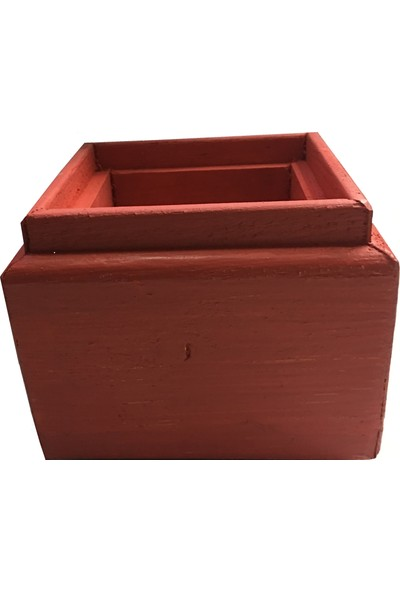 Tuğra Ahşap Dekorati̇f Saksı 10x10 cm Kırmızı