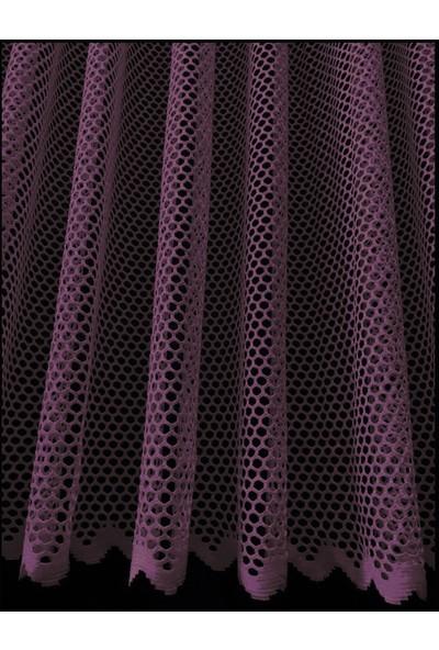 Caserta Home Lüx Avangart Mor 1/2 Seyrek Pileli File Tül Perde - 50x100 cm