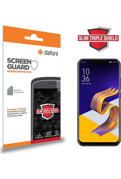 Dafoni Asus Zenfone 5z ZS620KL Slim Triple Shield Ön + Arka Ekran Koruyucu