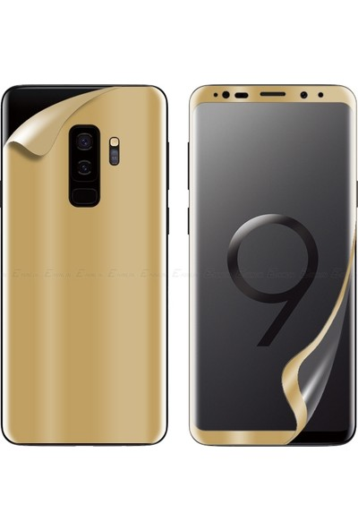 Dafoni Samsung Galaxy S9 Plus Curve Darbe Emici Gold Ön+Arka Ekran Koruyucu Film