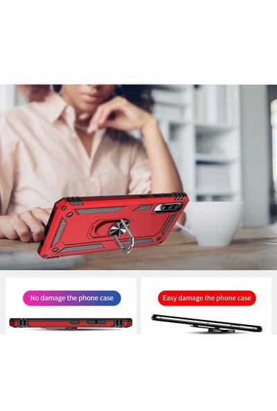 Happyshop Samsung Galaxy A70 Kılıf Çift Katmanlı Yüzüklü Manyetik Vega Kapak Siyah + Cam Ekran Koruyucu