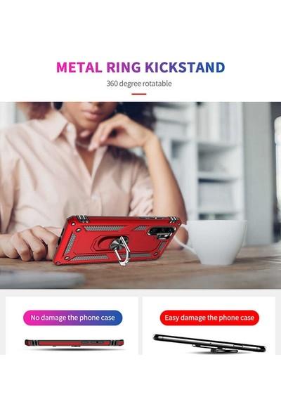 Teleplus Samsung Galaxy A50 Kılıf Vega Yüzüklü Tank Kapak Gümüş