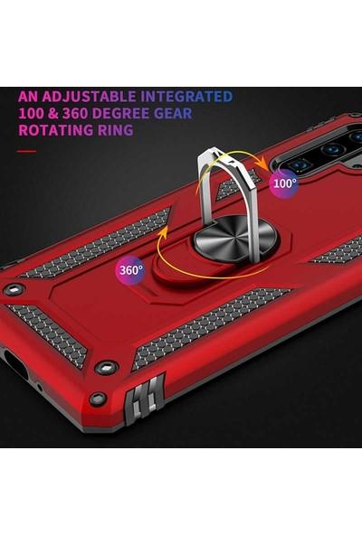 Teleplus Samsung Galaxy A50 Kılıf Vega Yüzüklü Tank Kapak Siyah + Nano Ekran Koruyucu