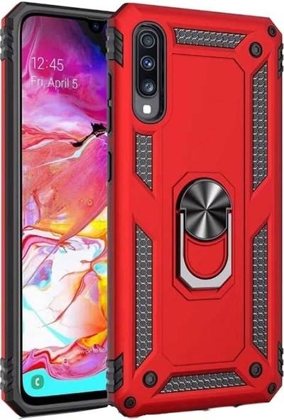 Teleplus Samsung Galaxy A50 Vega Yüzüklü Tank Kapak Kılıf Kırmızı + Nano Ekran Koruyucu