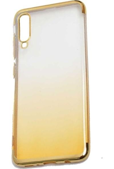 Teleplus Samsung Galaxy A50 Moss Lazer Silikonlu Kılıf Gold + Nano Ekran Koruyucu
