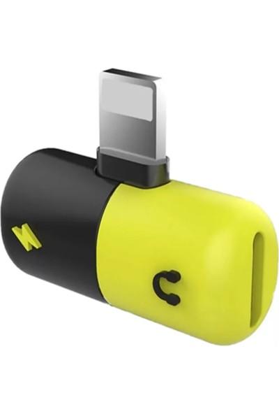 Shinwa iPhone X-8-7-6-5-S-Plus Mini Kapsül Şarj ve Kulaklık Dönüştürücü
