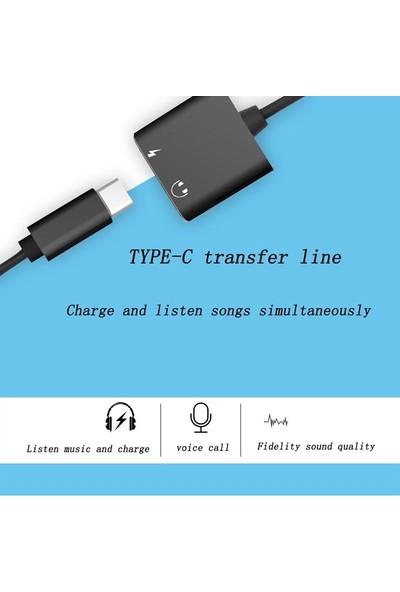 Hdr Type-C To 3.5 mm Audio Şarj ve Kulaklık Çevirici Dönüştürücü Otg Splitter