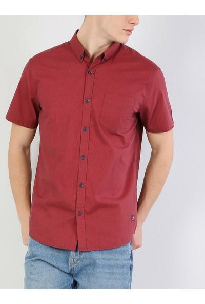 Colins Regular Fit Erkek Kırmızı Kısa Kol Gömlek