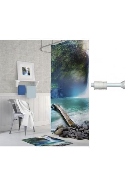 Prado Waterfall Dijital Baskı Banyo Perdesi 180x200 cm + Askı