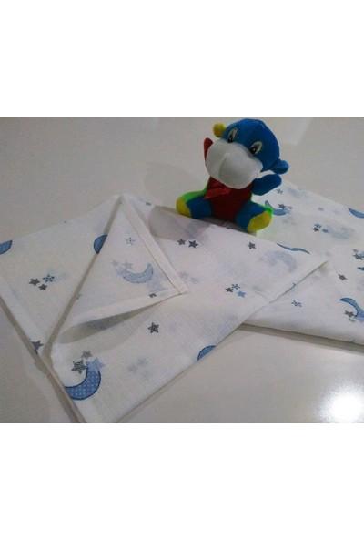 Başaran Tekstil Mavi Ay Yıldızlı Müslin Bebe