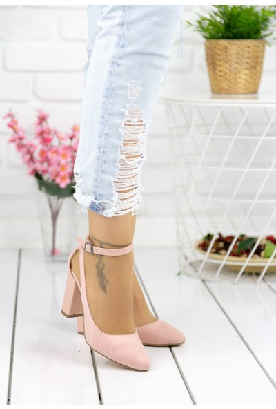 Erbilden Elida Pudra Süet Topuklu Ayakkabı