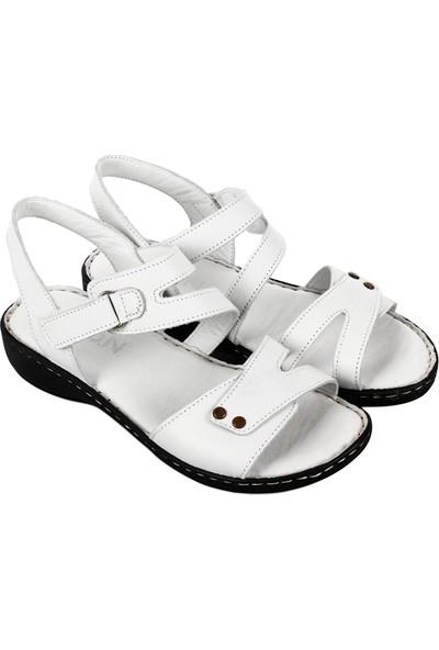 Gön Hakiki Deri Kadın Sandalet 45432