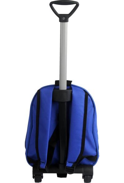 Harika Kanatlar Kabartmalı Çekçekli Çocuk Okul Çantası Mavi 8119